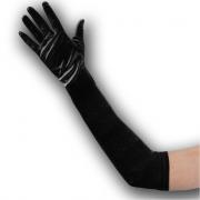 Guanti in raso neri elasticizzati