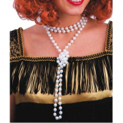 Collana perle bianche in plastica 180cm