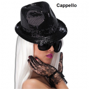 Cappello gangster in paillettes nere