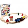 Trenino in legno con rotaie