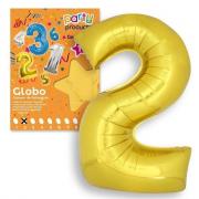 Palloncino a forma del numero 2 colore oro.