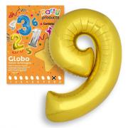 Palloncino numero 9 oro gonfiabile ad elio