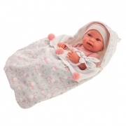 Bambola neonata Pipa con sacco a pelo e sonaglietto