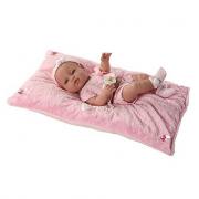 Bambola neonata 42 cm con cuscino