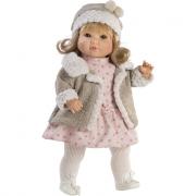 Sandra 42cm giacca beige e vestito rosa