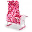 Culla a dondolo in legno per bambole fiori rosa Bayer Chic 2000