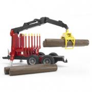 Bruder 02252 - Rimorchio con 4 tronchi e braccio meccanico