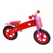 Bici pedagogica in legno senza pedali rossa e rosa Dushi