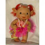 Bambolotto folletto profumato codini rossi e tutù rosa
