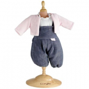 Vestito salopette in jeans e giacca rosa Corolle cm. 30