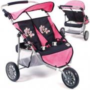 Passeggino gemellare 3 ruote per bambole blu/rosa Bayer Chic