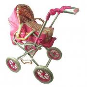 Carrozzina per bambole Combi rosa a righe Amia