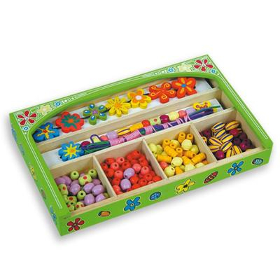 """Perline in legno """"Fiori"""" scatola verde"""